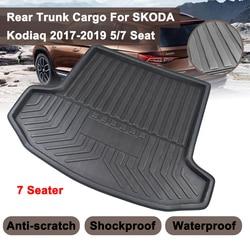 Dla SKODA Kodiaq 5/7 Seat Seater 2017 2018 2019 Matt Mat dywan na podłogę podkładka do kopania wkładka pod ładunek samochodowy Boot Tray tylna pokrywa bagażnika na