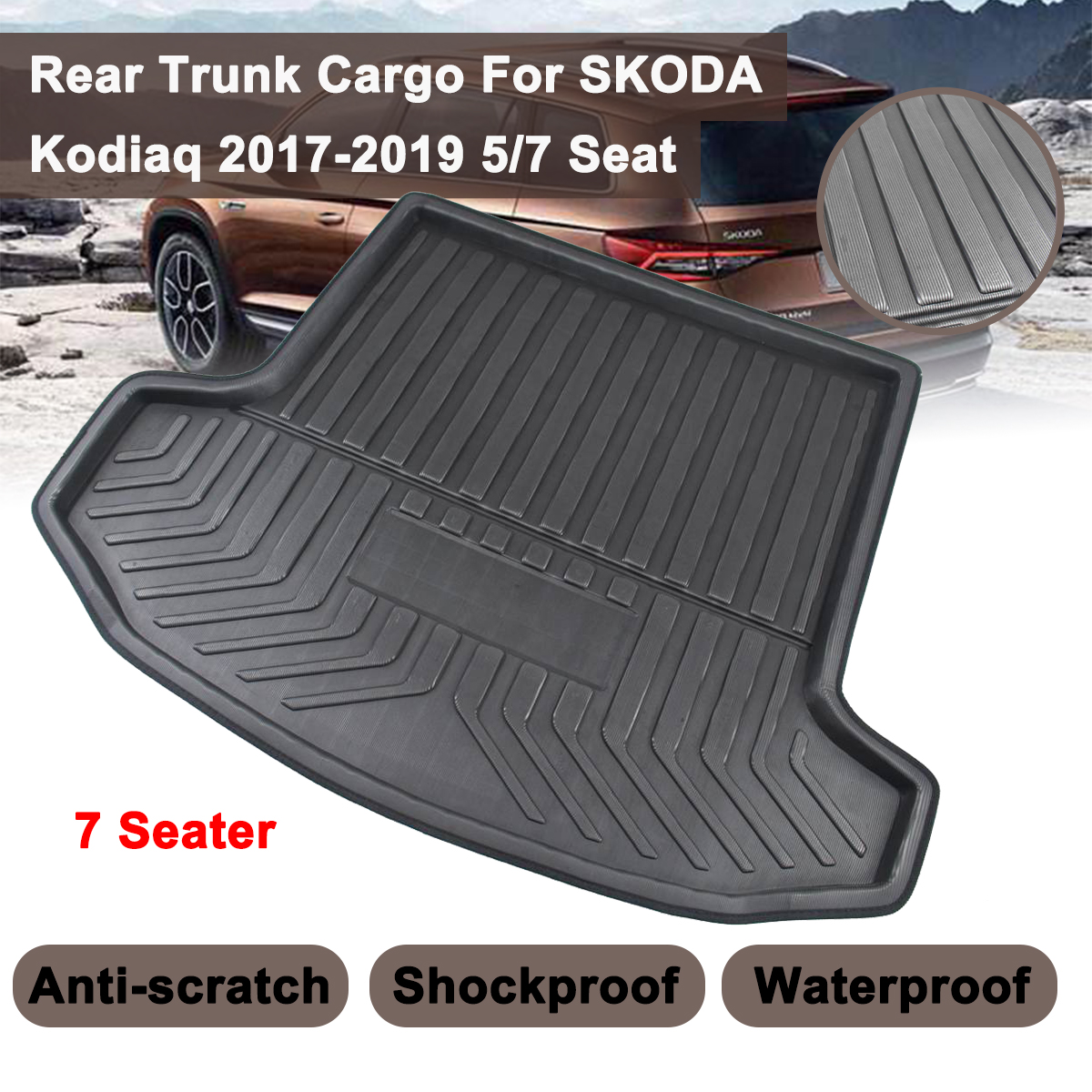 For SKODA Kodiaq 5/7 Seat Seater 2017 2018 2019 Matt Mat Floor Carpet Kick Pad Car Cargo Liner Boot Tray Rear Trunk Cover