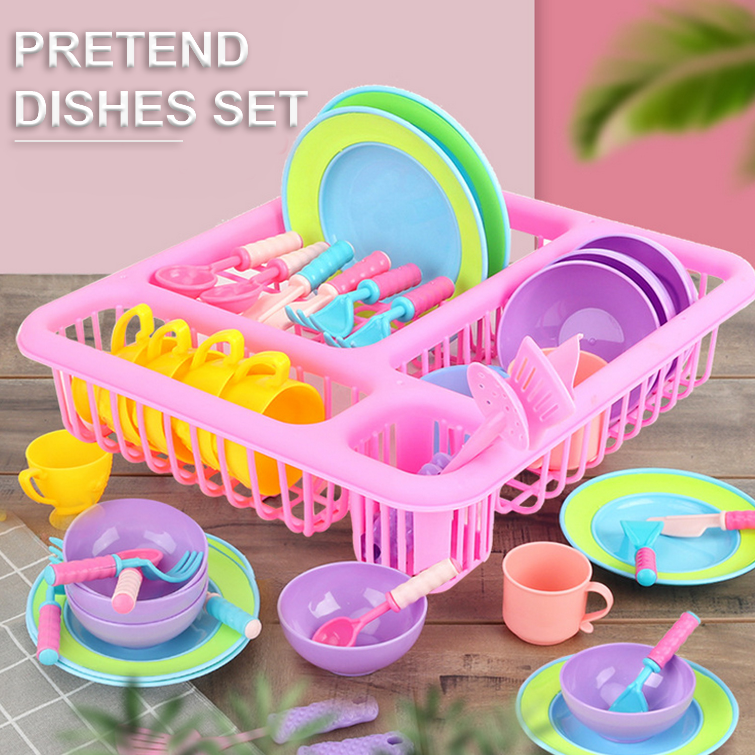 Kids 21pcs Tableware Dishes Plates Bowls Cups Knife Fork Spoon Cookware Kitchen Drainer Cooking Dry Rack Tool Pretend Play Toy