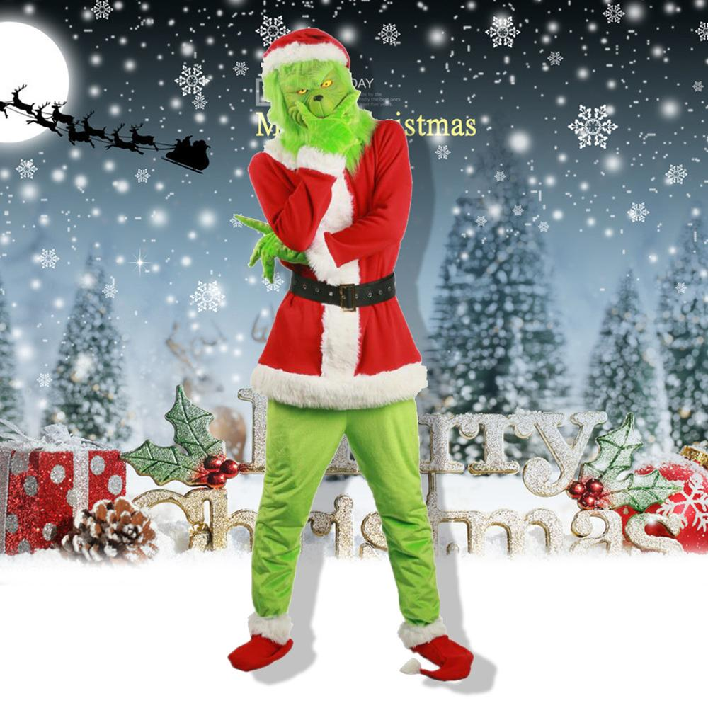 Anime How The Grinch Stole Christmas The Grinch Cosplay Costumes Kids Adult Top+Pants+Hat+Glove+Shoe Party Masquerade Suit