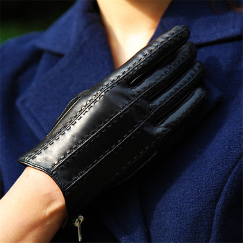 Genuine Leather Gloves Female Zipper Style Winter Warm Velvet Lined Thicken Fashion Black Sheepskin Woman Gloves DQ111 2018 fashion female winter warm lined shoe woman thick high heel long boots ladies genuine leather footwear pritivimin fn60