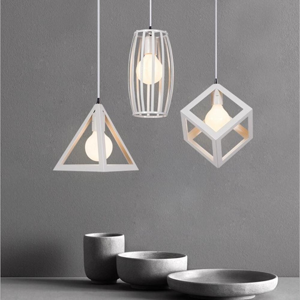 Modern White Cage Pendant Lights Iron Minimalist Retro Nordic Loft Pyramid Lamp Metal Hanging Lamp E27 Indoor