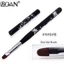 Bqan #4 #6 #8 #10 unha arte uv gel polonês tinta escova de unhas preto punho de madeira esculpida flores manicure ferramentas do prego