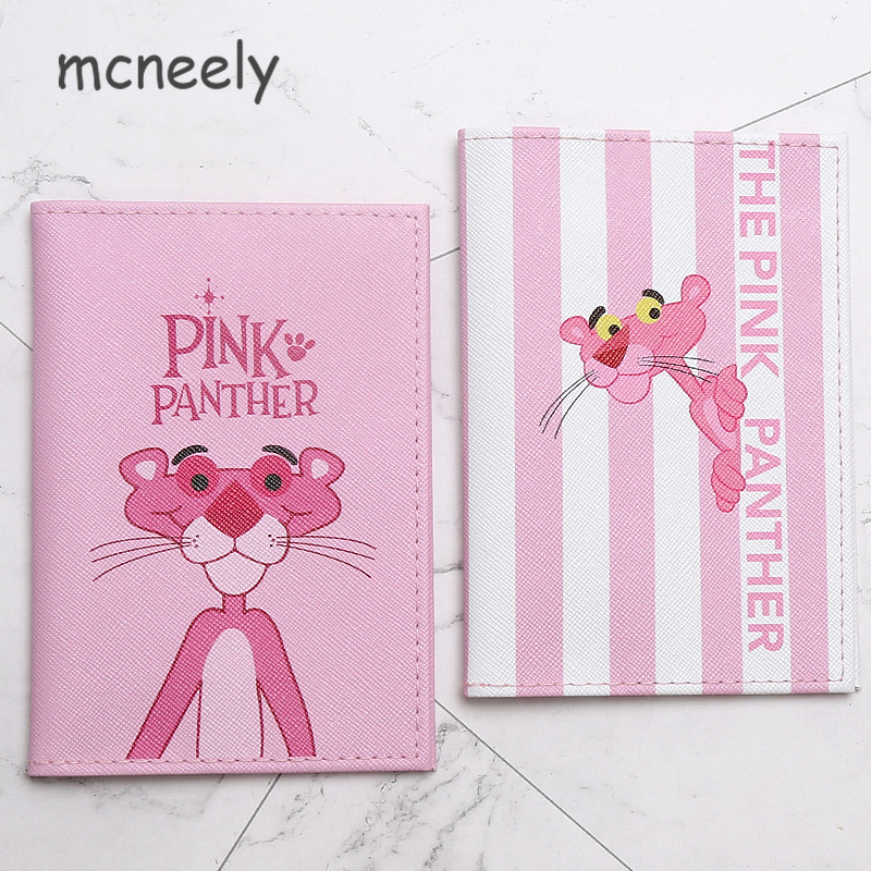 The Pink-Panther Passport Holder Travel PU Leather Credit Card Holder Pink Passport Package Women And Girls Passport Cover