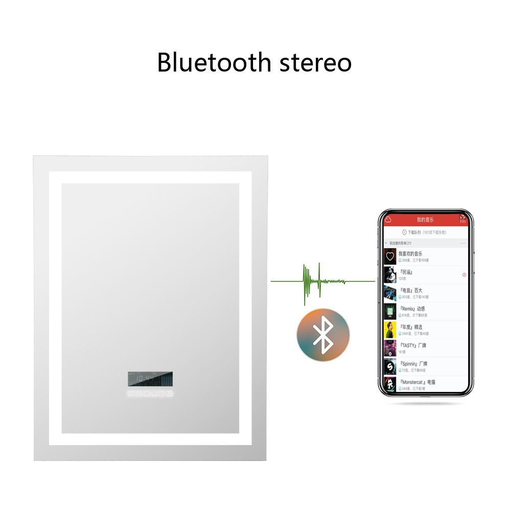 Smart Mirror Bathroom Vanity LED Mirror Bluetooth Speaker LCD Display Touch Switch Mirror Wall Mounted Lighted Makeup Mirror HWC
