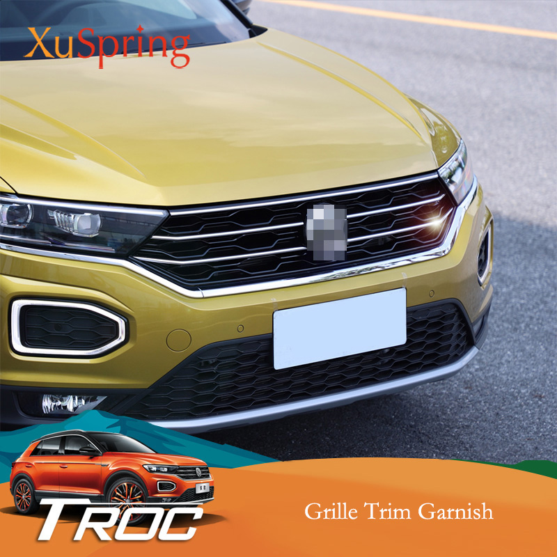Car Front Hood Middle Billet Grille Mesh Horizontal Trim Styling Sticker Cover 5Pcs/Set For VW T Roc 2017 2018 2019-in Body Kits from Automobiles & Motorcycles