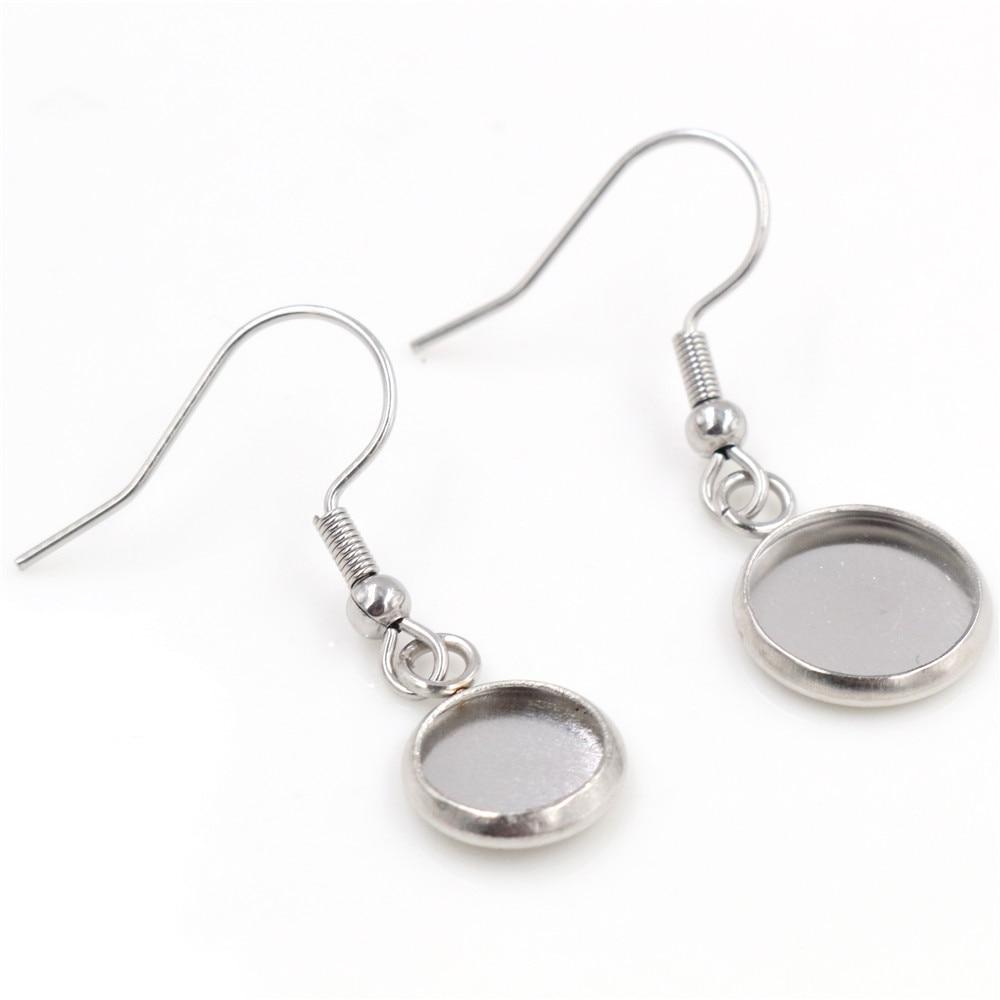 ( No Fade ) 8mm 10mm 10pcs Stainless Steel Cabochon Earring Settings Earrings Blank/Base,Diy Earrings Hooks Findings