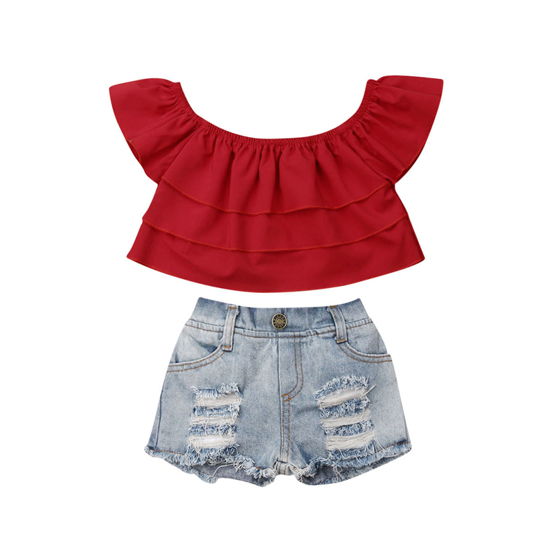 2019 Summer Baby Girl Outfit Clothes Toddler Kid Baby Girl Kid 2 Piece Sets Ruffle Tube Tops Denim Jeans Shorts Clothes 1-6Yrs