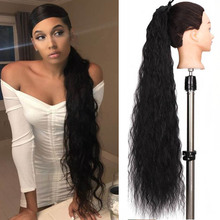 Ponytail Fake-Tie Heat-Resistant 32-Inch Synthetic HOUYAN with Tie-Up Fluffy-Fiber Long-Rolled