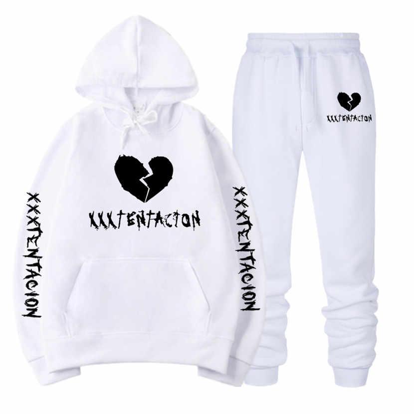 Xxxtentacion 패션 브랜드 남성 의류 양털 후드 풀오버 패션 브랜드 후드 티 스웨터 + 스웨트 팬츠 정장 스웨트