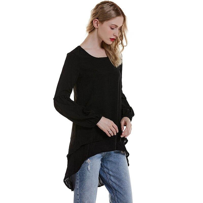 Свободные женские футболки с круглым вырезом, осень 2020, новый женский топ, сплошной цвет, неровный подол, топы, повседневные свободные