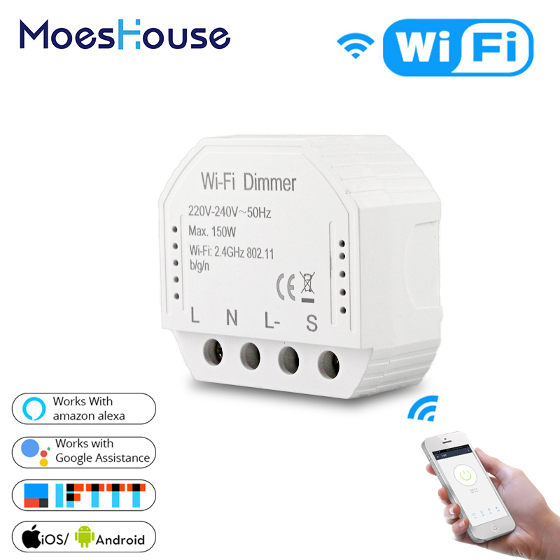 2 Way Wifi Smart Light LED Dimmer Switch Diy Breaker Module Smart Life/Tuya APP Remote Control,Works with Alexa Echo Google Home