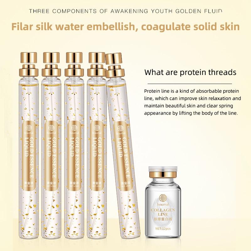 24K Gold Collagen Essence Lasting Moisturizing Shrinkage Pore Firming Skin Anti-Drying Anti-Aging Facial Serum Set