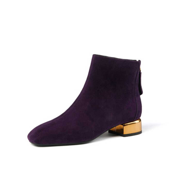 MLJUESE 2020 kadın yarım çizmeler çocuk süet mor renk kare ayak kış kısa peluş düşük topuklu kadın bot boyutu 41 parti