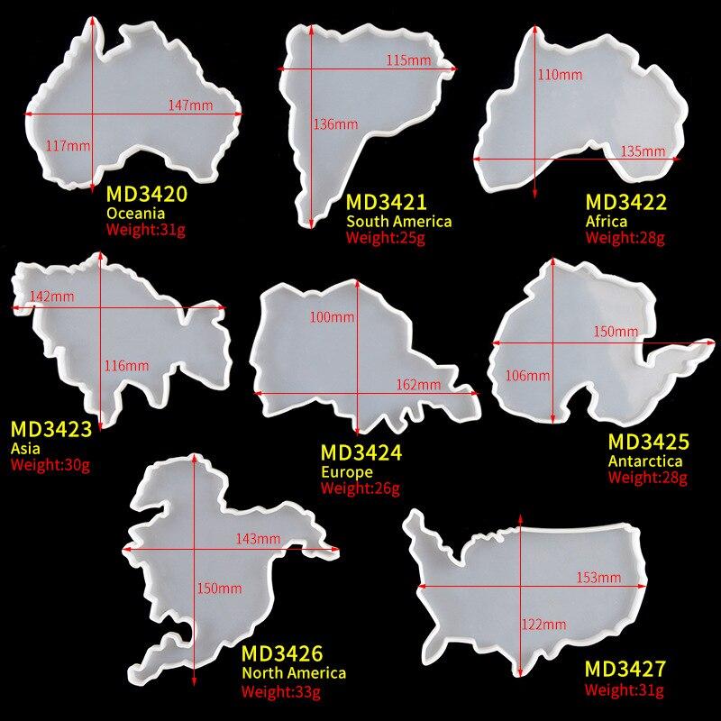 Прозрачная эпоксидная смола «сделай сам», подставка, форма, карта семи континентов, силиконовая форма, поднос для чашки с фруктами, коврик д...