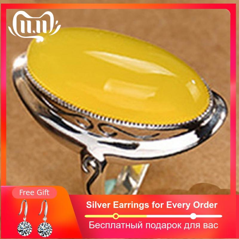 NOT FAKE S925 Sterling Silver Israel Amber Rings Exaggerated Rings Health Rich Lithuania Retro Chalcedony