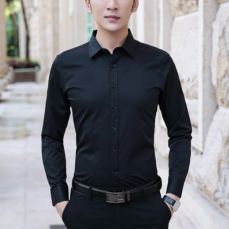 BROWON Size M-8XL Men Dress Shirts Long Sleeve Turn Down Collar Solid Color Business Work Shirt Slim Fit Anti-wrinkle Men Clothe