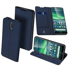 Dux Ducis Skin Cảm Ứng Da PU Dành Cho Nokia 2.3 Cao Cấp Siêu Mỏng Khe Cắm Thẻ Đứng Flip Wallet Cover cho Vỏ Nokia 2.3