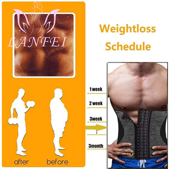 LANFEI Men Hot Neoprene Waist Trainer Trimmer Belt Workout Fitness Slimming Corset Shapwear Sauna Sweat Body Shaper Strap Girdle 2