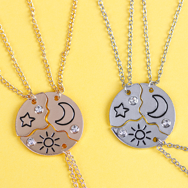 3 Pieces New Round Sun Star Moon Pendant Necklace Fashion Best Friend Forever Friendship BFF Men And Women Charm Chokers 2020