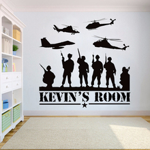 Custom name wall sticker Soldiers War Helicopters stickers Nursery Bedroom Boy Room wall decor Vinyl Military Wall decals HY745 vinyl wall sticker for kids boy teenager room wall decor excavator wall decals nursery bedroom stickers home decoration hy740