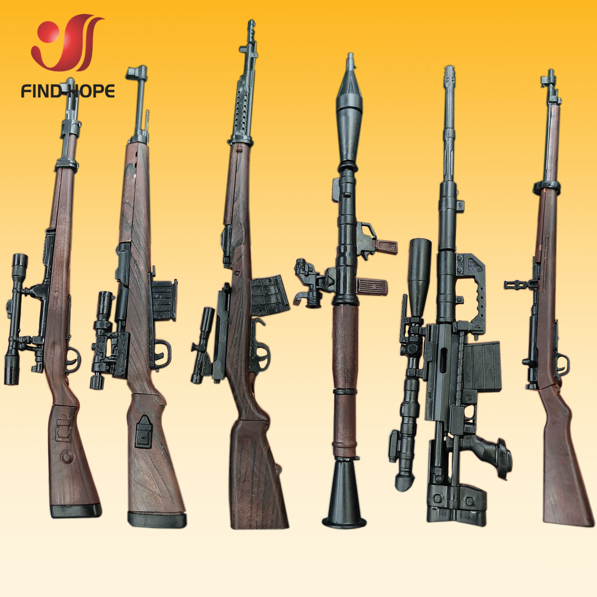 6Pcs/Set 1/6 98K RPG SVT-40 G43rifle M200 Sniper Gun Model Assembly Gun Puzzles Brick For Action Figure