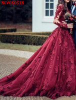 2020 New Sexy Burgundy Ball Gown Quinceanera Dress Sheer Neck Lace 3D Appliques Beaded Sweep Train Puffy Plus Size Patry Gown