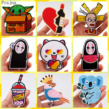 Prajna Likee Patch Embroidered Iron On Patches For Clothes Stripes Cat Heart Wine Yoda Baby No Face Man Clothing