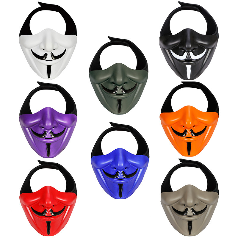 Military Tactical Mask Half Face V For Airsoft Paintball Samurai Skull Masks Wargame Hunting Protective Equipment Halloween Mask