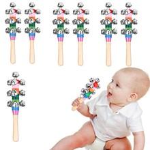 Muilti ПК ребенок колокольчик вокал игрушки радуга шейкер палка обучающая игрушка ручка деревянный активность колокольчик кольцо радуга музыкальный инструмент