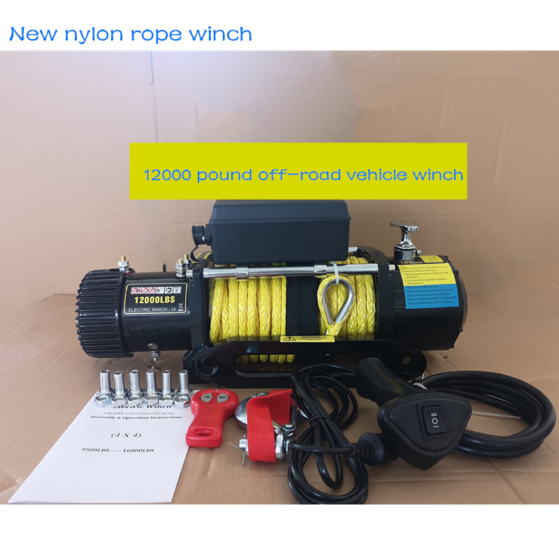 12v/24v 12000 Pounds Of New Nylon Rope Winch Off-road Winch Electric Winch With Wireless Remote Control
