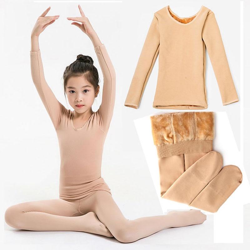 Kids Thermal Underwear Set Winter Fleece Thick Leggings Dance Costume Girls Long Johns Children Underwear 10 12 Y Kids Clothes 1