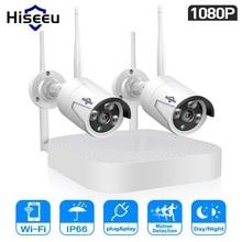 Hiseeu 1080P אלחוטי טלוויזיה במעגל סגור מערכת 4CH NVR IP Bullet מצלמה 2MP וידאו אבטחת מעקב מצלמה
