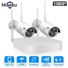 Hiseeu 1080P Không Dây Hệ Thống Camera Quan Sát 4CH NVR IP Bullet Camera 2MP Video Camera An Ninh Giám Sát Hệ Thống