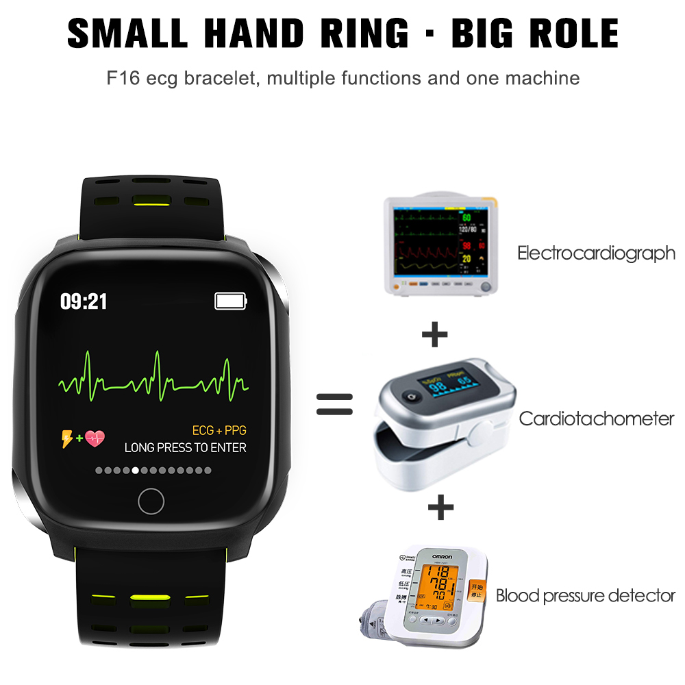 696 F16 Smart Bracelet ECG+PPG Pedometer Alarm Clock Smart Watch Men Heart Rate Blood Pressure Waterproof Smart Wristband/band