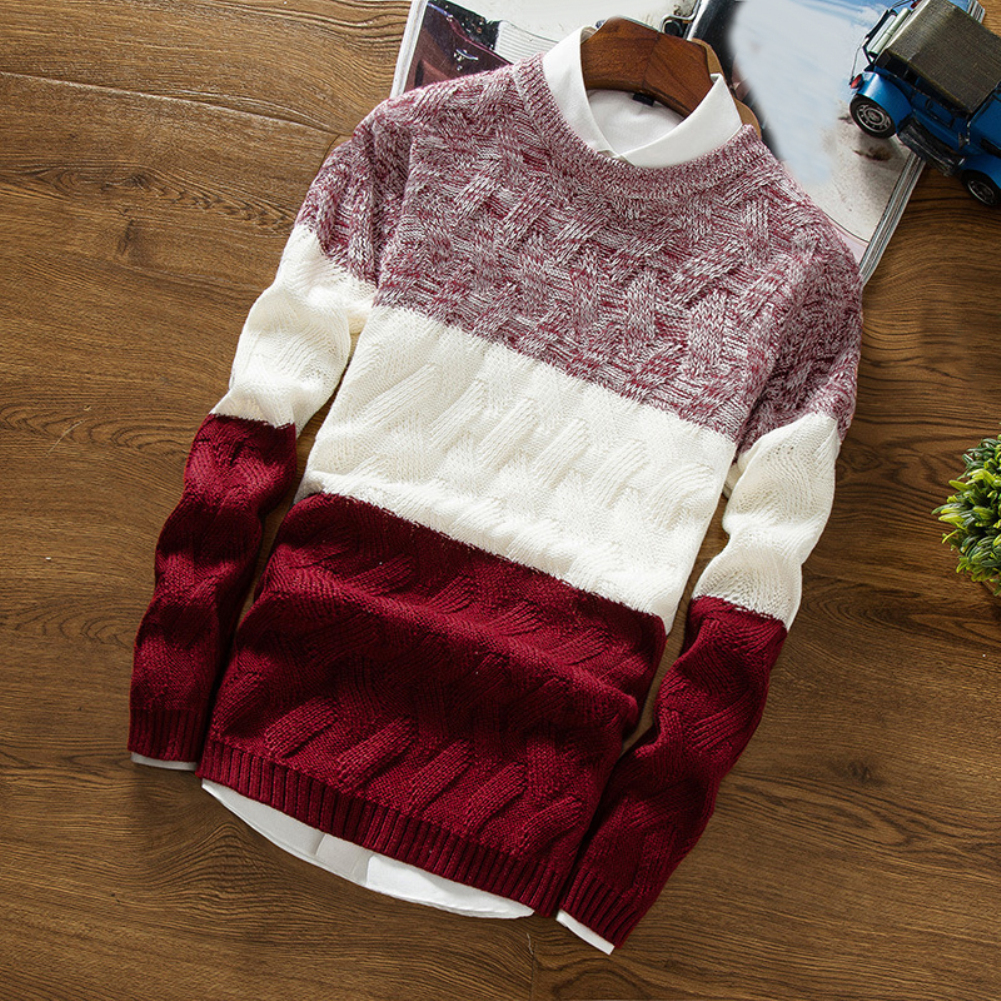 Winter Men O Neck Long Sleeve Color Block Patchwork Knitted Pullover Sweater Men's pattern patchwork round neck Sweater 4