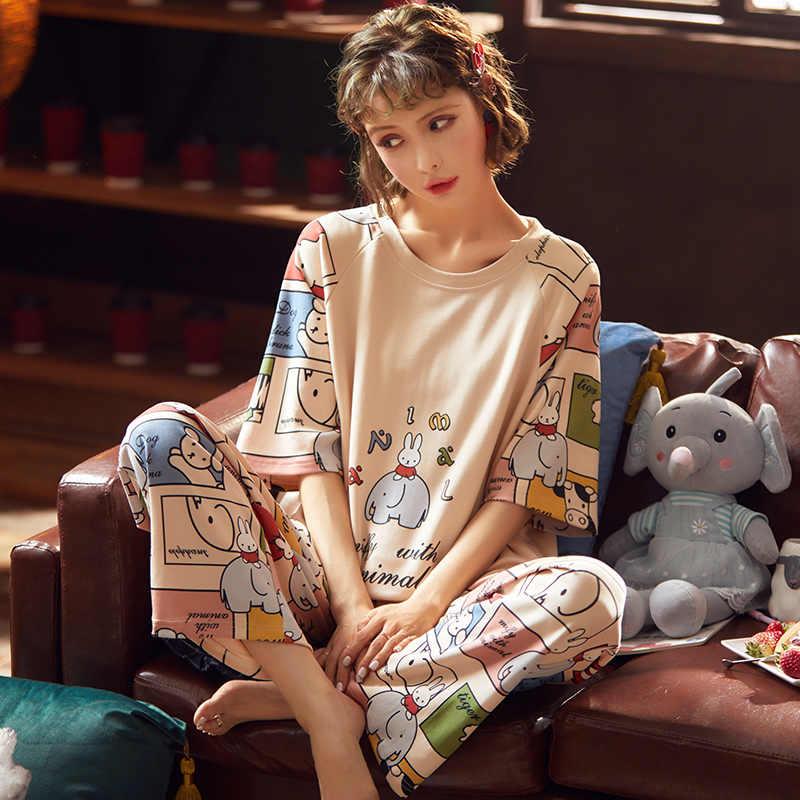 짧은 소매 코튼 잠옷 봄 여성 여름 잠옷 세트 Pijama 잠옷 잠옷 Nightwear 세트 긴 바지