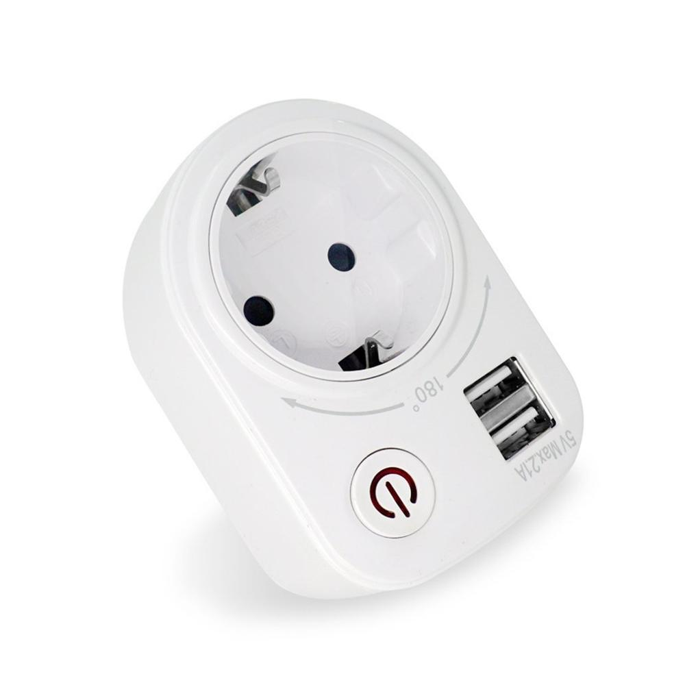 5V 2.1A Electric Dual USB Charger Adapter EU Plug Intelligent Plug-in Wall Socket Charging Power Switch Outlet Home Travel Hot