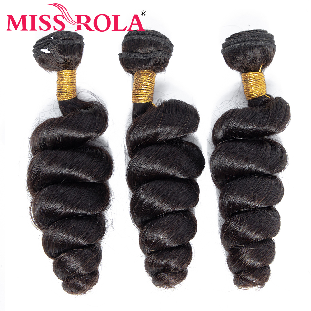 Miss Rola Hair Brazilian Loose Wave Hair Bundles Extensions 3 Bundles 100% Human Hair Non Remy Machine Double Weft Natural Color