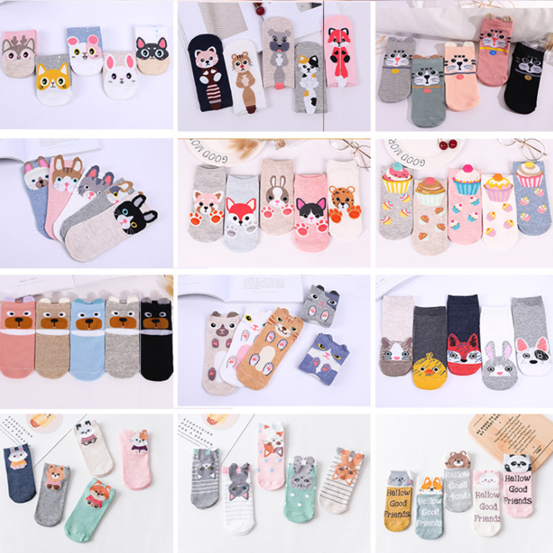 5 Pairs/lot Women Cotton Socks Cartoon Sweet Cupcake Socks Animal Stereo Cat Ears Children Girls High Quality Casual Boat Socks