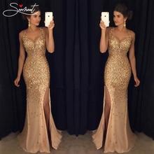 Сермент, винтажное расшитое блестками платье, вечернее платье, Золотое Платье на бретельках для выпускного вечера,, прямое платье русалки