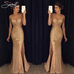 Сермент, винтажное расшитое блестками платье, вечернее платье, Золотое Платье на бретельках для выпускного вечера, бесплатная доставка, пря...