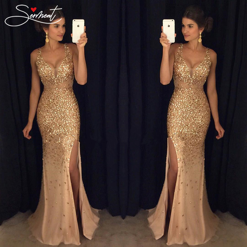SERMENT Vintage Split Sequined Dress Evening Gold Sling for Prom Free Shipping Straight Mermaid
