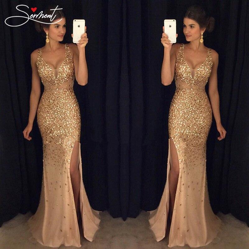 SERMENT Vintage Split Sequined   Dress     Evening     Dress   Gold Sling for Prom Free Shipping Straight Mermaid   Dress