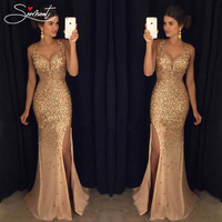 SERMENT Vintage Split Sequined Dress Evening Dress Gold Sling for Prom Free Shipping Straight Mermaid Dress