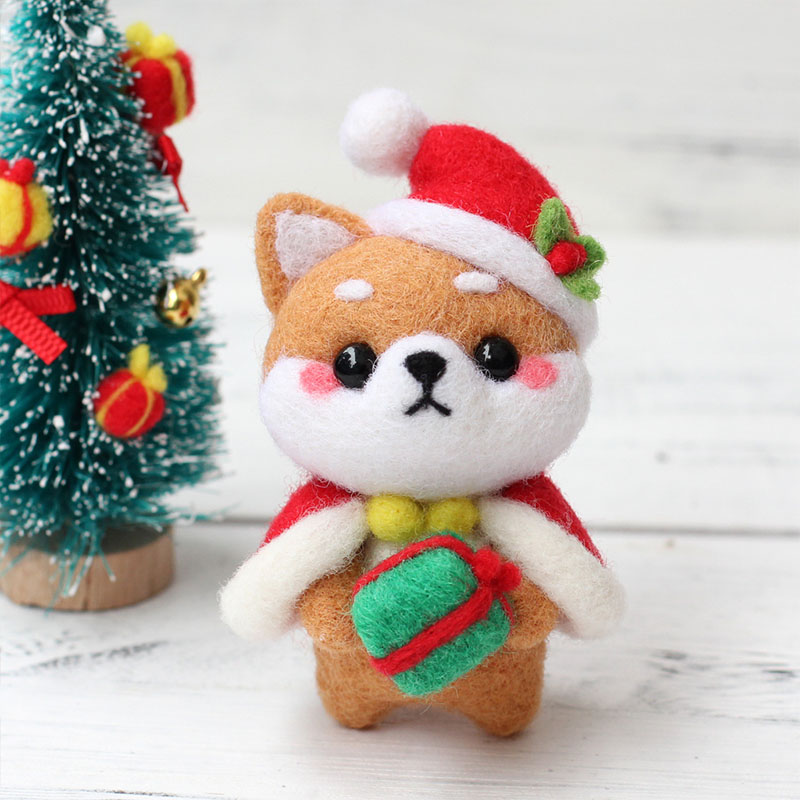 1PC Creative Lovely Doll Wool Felt Craft DIY Christmas Non Finished Poked Set Handcraft Kit for Needle Material Bag Pack(China)