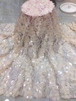 Excellent  African net lace fabric with big sequins for ladies French tulle mesh material PDN636(5yards/pc) multi color