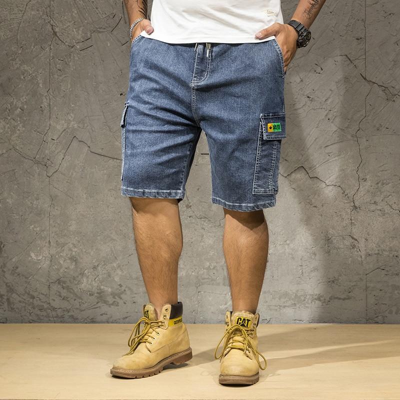 Plus Size 48 50 52 Men's Loose Blue Denim Shorts Summer New Big Pocket Straight Jeans Cargo Shorts Male Brand