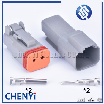 1 sets Deutsch DT 2pin connector DT06-2S/DT04-2P Male Female Auto Waterproof Connector Automotive Sealed Plug image