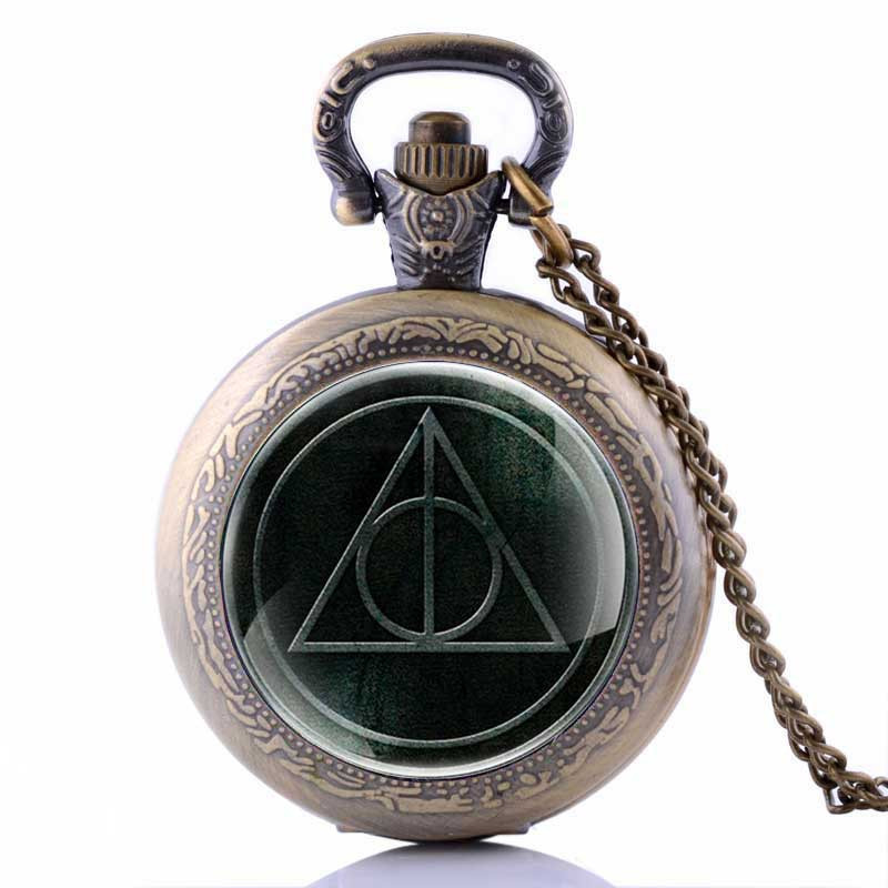 Sweater Necklace Hogwarts Slytherin Ravenclaw Clock Retro Snitch Quidditch The Deathly Hallows Quartz Pocket Watch
